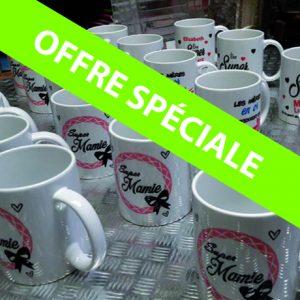 Lot de 10 Mug blanc personnalisés 55€